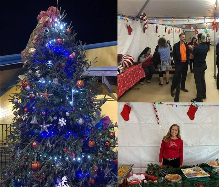 Image shows collage of Christmas tree, catering, and people talking.