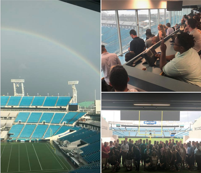 Image is a collage shows a professional football stadium, a rainbow, and a group of young people on a tour.