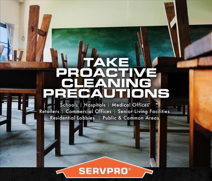Text says: Take Proactive Cleaning Precautions, background is a school classroom.